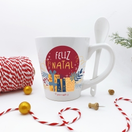 Caneca Feliz Natal c/colher