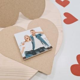 Postal coração e íman com foto